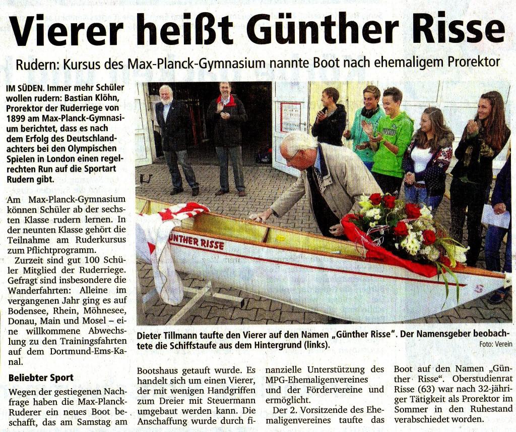 Bootstaufe Neuer Vierer Günther Risse